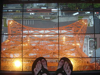 Tokyo Tower - Looking down from the glass-flooring at the Tokyo Tower