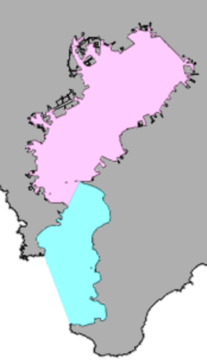 Tokyo Bay - Tokyo Bay, in a narrow sense (pink) and in a broad sense (pink and blue)