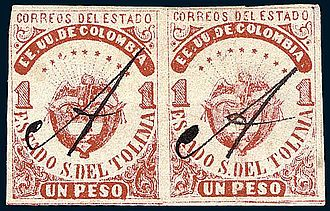 Pen cancel - Stamps of Tolima with a pen cancel.