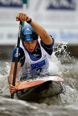 Tony Estanguet - Tony Estanguet riding for the gold medal at the 2006 World Championships at Troja slalom course in Prague.