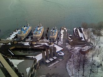 Jack Layton Ferry Terminal - The ferry terminal in the winter, next to the Harbour Square Park.