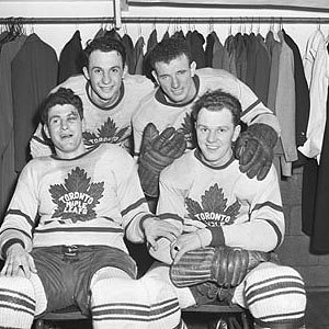 Ted Kennedy (ice hockey) - Kennedy, back right, with Leaf teammates in 1946