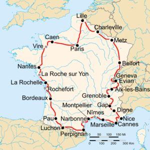 1935 Tour de France - Route of the 1935 Tour de France Followed clockwise, starting in Paris