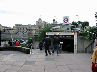 Tower Hill tube station - Entrance opposite the Tower of London