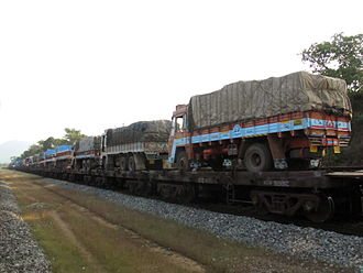 Piggyback (transportation) - Trucks on a train in India