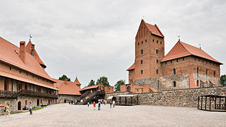 Trakai Island Castle - Inner yard of castle. On the right – the Ducal Palace and its donjon