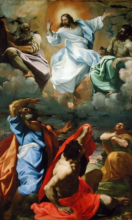 Transfiguration of Jesus depicting him with Elijah, Moses and 3 apostles, by Carracci, 1594 Transfiguration by Lodovico Carracci.jpg