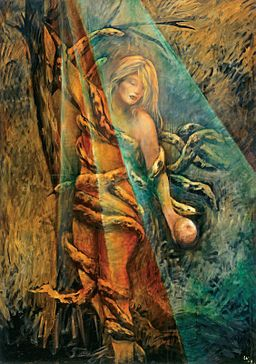 A painting of a woman, her nudity covered by serpents, standing next to a tree and holding a fruit in her hand. A beam of light from above and behind the woman highlights her face, right arm, and fruit.