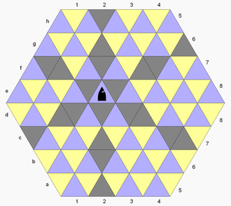 Triangular Chess - The bishop moves along cells in the diagram colored dark gray.