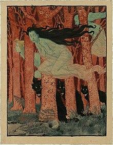 Aquarelle montrant trois sorcières vêtues de blanc chevauchant des balais, volant au milieu de troncs d'arbres rouges, au pied desquels se trouvent trois loups noirs.
