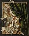 Trompe-l'oeil- brievenbord met zandloper, scheermes en schaar, Cornelis Norbertus Gysbrechts, 1664, Koninklijk Museum voor Schone Kunsten Gent, 1911-HJ.jpg