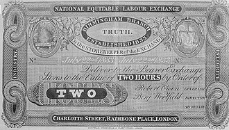 Time-based currency - Truck system of payment by order of Robert Owen and Benj Woolfield, National Equitable Labour Exchange, July 22nd 1833.