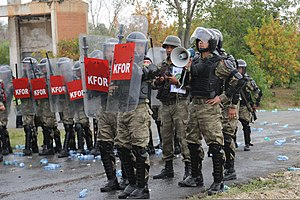 Kosovo Force - Turkish Land Forces KFOR soldiers in riot training