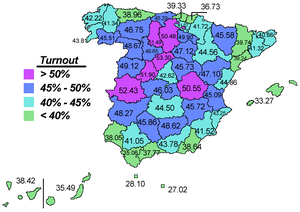 Spanish European Constitution referendum, 2005 - Distribution of the turnout by province.