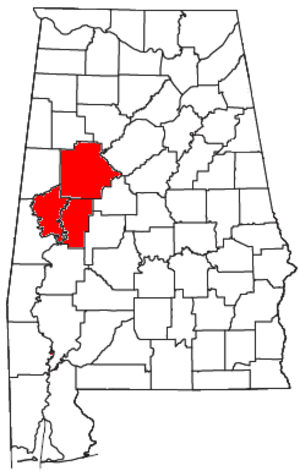 Tuscaloosa, Alabama metropolitan area - Location of the Tuscaloosa Metropolitan Statistical Area in Alabama
