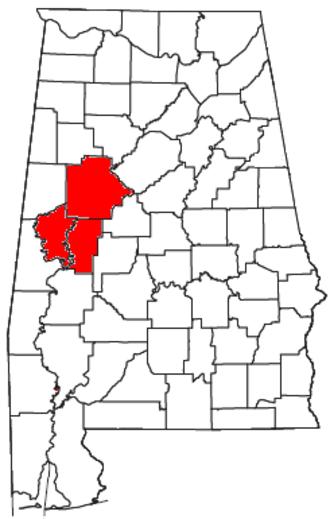 Tuscaloosa, Alabama metropolitan area - Location of the Tuscaloosa Metropolitan Statistical Area in Alabama