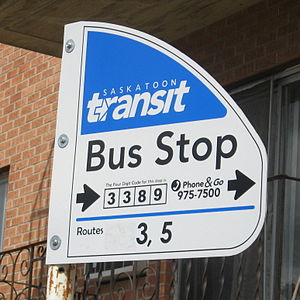 Saskatoon Transit bus stop sign