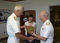 U.S. Navy Adm. Samuel J. Locklear, left, the commander of U.S. Pacific Command, gives a plaque to Royal Norwegian Navy Adm. Haakon Bruun-Hanssen, right, the chief of defense of the Norwegian Armed Forces, during 140630-N-DX698-073.jpg