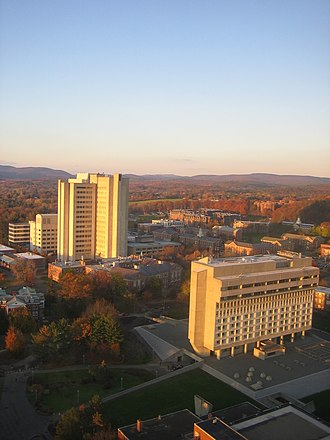 University of Massachusetts Amherst - From the W.E.B. DuBois Library, a northward view.  The Lederle Graduate Research Tower can be seen in the background with the Campus Center and Hotel in the foreground.