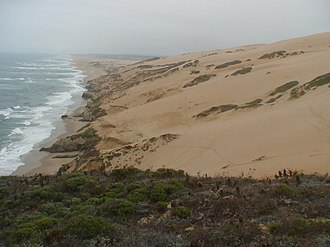 Guadalupe-Nipomo Dunes - A view of the Guadalupe-Nipomo Dune complex from its southern tip at Mussel Rock.