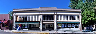 Nevada City Downtown Historic District - Image: US CA Nevada City Broad Street Alpha Building Community Collaborative pano v 1