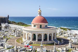 Santa María Magdalena de Pazzis Cemetery - View of western part of cemetery overlooking the Atlantic Ocean