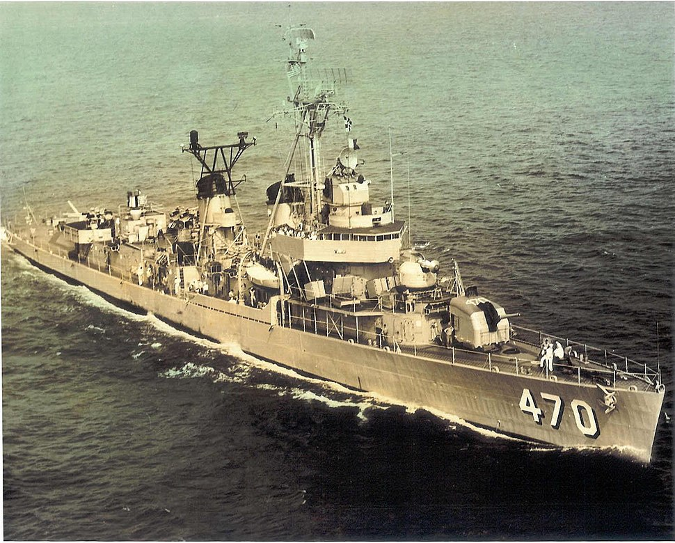 USS Bache (DD-470) underway at sea, in the 1960s