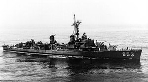 USS Charles H. Roan (DD-853) underway, circa in the 1950s