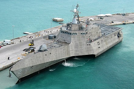 USS Independence (LCS-2), a Littoral combat ship USS Independence LCS-2 at pierce (cropped).jpg