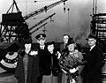 USS Johnston (DD-557) sponsor's party at Seattle-Tacoma Shipbuilding, Washington (USA), on 25 March 1943 (NH 63301).jpg