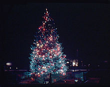 The National Community Christmas Tree in Lafayette Square, circa 1936 to  1938.