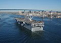 "US Navy 030117-N-2069B-009 Sailors aboard USS Bonhomme Richard (LHD 6) ""man the rails"" as the amphibious assault ship heads to sea.jpg"