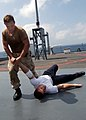 US Navy 030220-N-7672K-002 Martial arts training class provided by U.S. Marine instructors aboard USS Mount Whitney (LCC-JCC 20).jpg