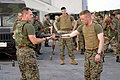 US Navy 040220-M-4806Y-021 U.S. Marine Corps Sgt. Mathew Duganier and 2nd Lt. Brian Donlon, both assigned to 2-6 Echo Company II Marine Expeditionary Force (MEF) demonstrate martial art techniques.jpg