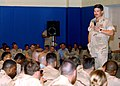 US Navy 050713-N-9563N-002 Master Chief Petty Officer of the Navy (MCPON), Terry Scott answers a Sailor's question during an all hands call.jpg