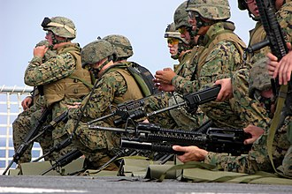 1st Battalion, 8th Marines - Marines take a look at their targets following marksmanship training