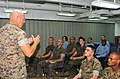 US Navy 061104-N-5067K-002 Sgt. Maj. James R. McKay assigned to the 31st Marine Expeditionary Unit (MEU) briefs a Marine Staff Sergeant's Indoctrination Course.jpg