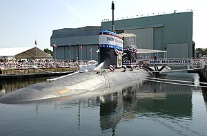 SSN (hull classification symbol) - Image: US Navy 080621 N 8467N 001 Pre commissioning Unit New Hampshire (SSN 778) sits moored to the pier at General Dynamics Electric Boat shipyard moments before her christening ceremony commenced