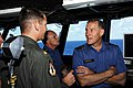 US Navy 080726-N-7883G-012 Canada's Chief of Defense Staff Gen. Walter Natynczyk discusses flight operations with Lt. Cmdr. Tom Bell aboard the aircraft carrier USS Kitty Hawk (CV 63).jpg
