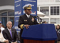 US Navy 081108-N-6735B-023 Vice Adm. Mel Williams Jr. speaks to military personnel, former Intrepid crew members, museum staff and visitors at a ribbon-cutting ceremony for the grand reopening of the Intrepid Sea, Air ^ Space M.jpg
