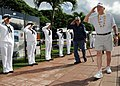 US Navy 081202-N-9758L-013 Battleship USS Arizona (BB-39) survivors Glenn Lane and Milton Hurst salute an honor cordon of Sailors and Marines.jpg