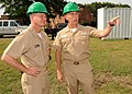US Navy 100519-N-0659H-001 Master Chief Petty Officer of the Navy (MCPON) Rick West and Force Master Chief Jon Port, Navy Personnel Command, discuss the ongoing recovery efforts at Naval Support Activity Millington.jpg