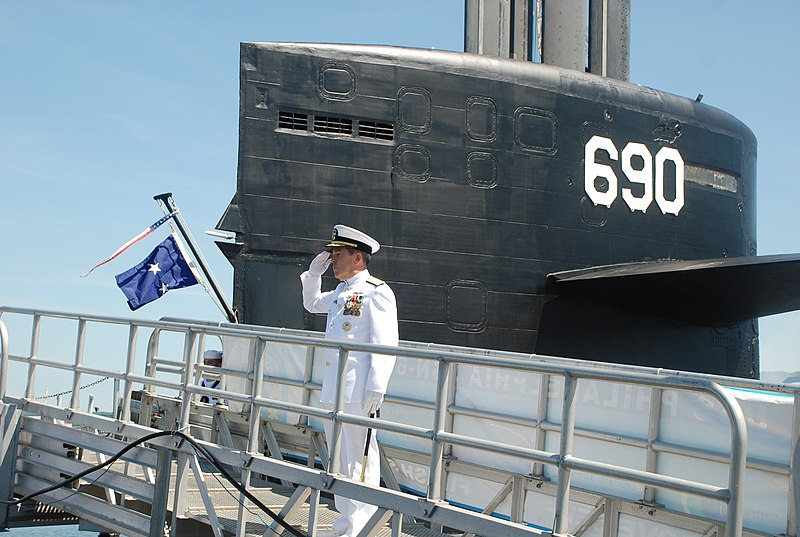 File:US Navy 100625-N-3090M-130 Rear Adm. Douglas McAneny, commander of Submarine Force, U.S. Pacific Fleet, salutes for the Admiral's March and 13-gun salute.jpg