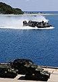 US Navy 110923-N-WJ771-100 A landing craft air cushion carrying equipment assigned to the 31st MEU approaches the well deck of USS Denver (LPD 9).jpg
