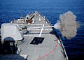 US Navy 120119-N-ZF681-334 The MK-45 5-inch-54-caliber lightweight gun aboard the guided-missile destroyer USS Halsey (DDG 97) fires.jpg