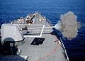 US Navy 120119-N-ZF681-334 The MK-45 5-inch-54-caliber lightweight gun aboard the guided-missile destroyer USS Halsey (DDG 97) fires.jpg