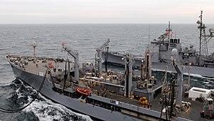 US Navy 120213-N-DH811-083 The Military Sealift Command Henry J. Kaiser-class fleet replenishment oiler USNS Patuxent (T-AO 201) transfers fuel to.jpg