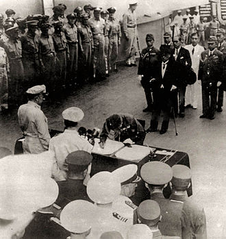 Japan - Japanese officials surrendering to the Allies on September 2, 1945, in Tokyo Bay, ending World War II