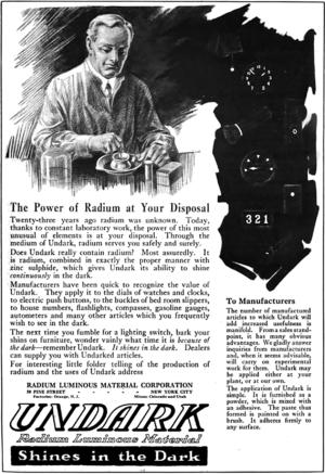 Radium Girls - 1921 advertisement for Undark