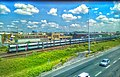 Une rame du RER B près de l'autoroute A86 entre Le Bourget et La Courneuve – Aubervilliers.jpg